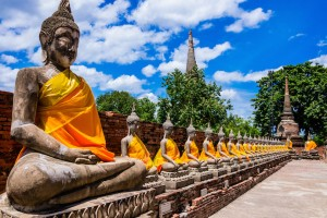 Thailand, row of Buddha images in Ayutthaya old Temple
